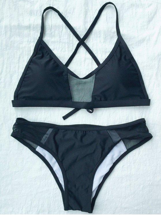 Solido di colore spalline Bikini - Nero L