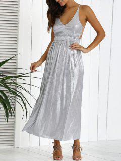 Backless Silver Evening Dress - Silver M