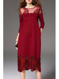 Sheer Lace Insert Midi Dress - Wine Red S