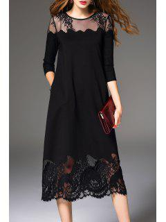 Sheer Lace Insert Midi Dress - Black Xl