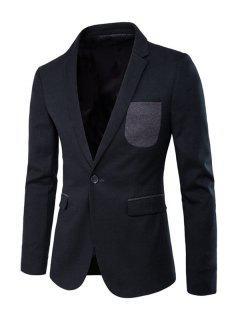 Contrast Pocket Slit Back Lapel Long Sleeve Blazer - Blackish Green 2xl