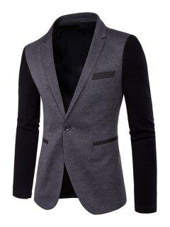 Color Splicing Lapel Long Sleeve One-Button Blazer - Gray M