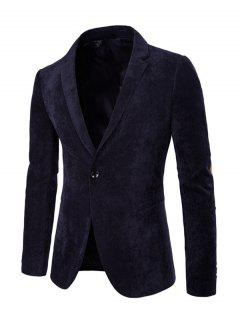 Elbow Patch Split Back Long Sleeve Corduroy Blazer - Cadetblue L