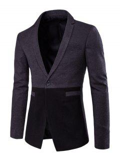 Welt Pockets Color Splicing Sleeve Buttons Design Blazer - Gray Xl