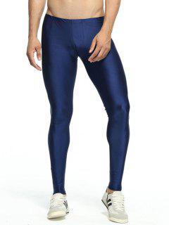 Solid Skinny Elastic Waist Gym Pants - Deep Blue L