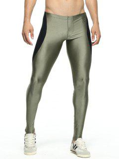 Skinny Color Spliced Elastic Waist Gym Pants - Army Green M