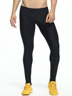 Pantalones Con Paneles Flaco Elástico De La Cintura De Gimnasia - Amarillo M