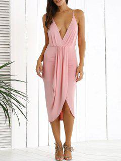 Low Cut Draped Party Wear Tulip Dress - Pink S