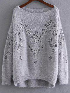 Embroidered Sequins Mohair Sweater - Gray