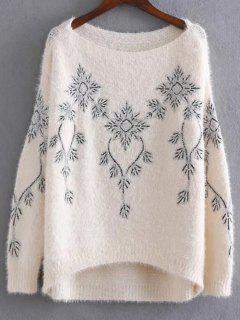 Embroidered Sequins Mohair Sweater - Apricot