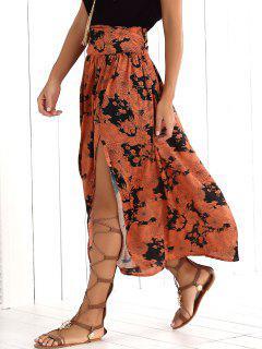 Printed High Slit Maxi Skirt - 2xl