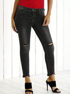 Skinny Ripped Ankle Jeans - Gray 26