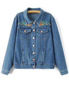 Flower Embroidered Denim Jacket - Denim Blue S