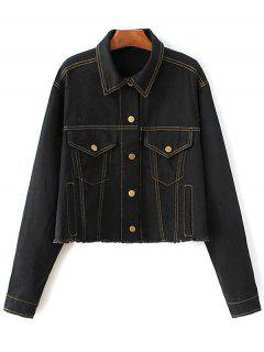 Boutons Frayed Denim Jacket - Noir S