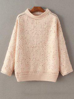 High Neck Crochet Sweater - Pink