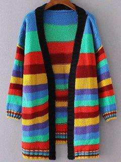 Striped Long Open Cardigan - L