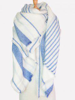 Different Stripe Fringed Shawl Scarf - White