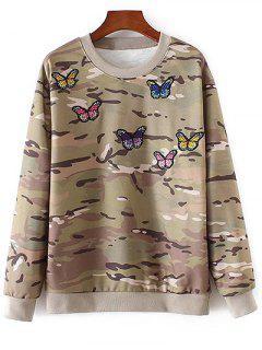 Camo Camiseta Bordada De La Mariposa - M