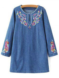 Embroidered Denim Long Sleeve Dress - Denim Blue M