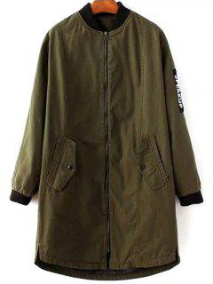 Letter Pattern Stand Neck Coat - Army Green M