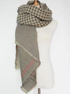Plaid Houndstooth Pattern Fringed Square Scarf - Blackish Green