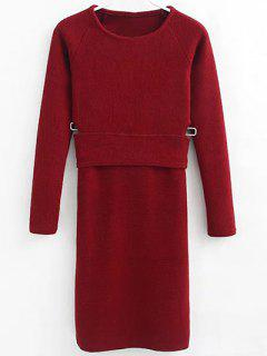Pullover Sweater And Knit Skirt - Wine Red S