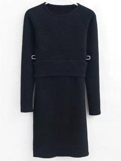 Pullover Sweater And Knit Skirt - Black S
