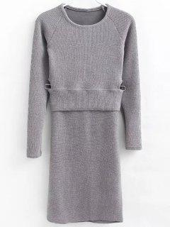 Pullover Sweater And Knit Skirt - Gray M