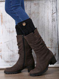 Button Letter W Knitted Boot Cuffs - Black