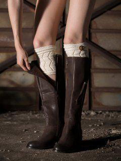 Button Letter W Knitted Boot Cuffs - White