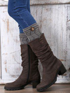 Button Letter W Knitted Boot Cuffs - Deep Gray
