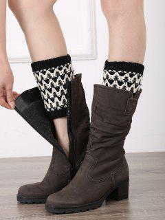 Wavy Stripe Knitted Boot Cuffs - Black