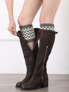 Wavy Stripe Knitted Boot Cuffs - Gray