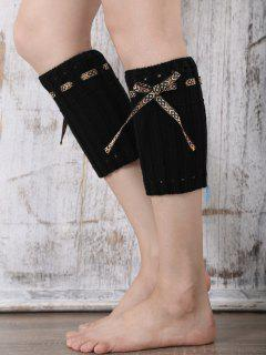 Lace-Up Mouflé Boot Cuffs - Noir
