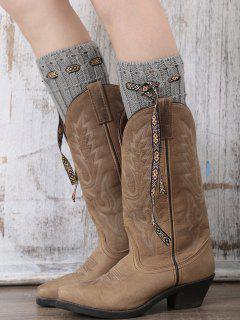 Lace-Up Reeved Boot Cuffs - Gray