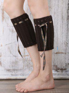 Lace-Up Reeved Boot Cuffs - Chocolate