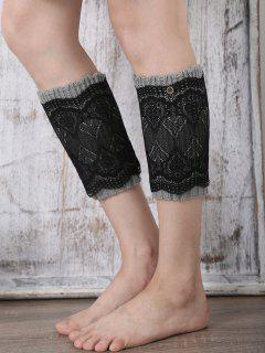 Double-Deck Lace Knitted Boot Cuffs - Gray