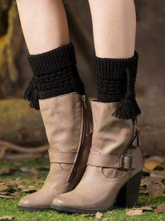 Tassel Flanging Knitted Boot Cuffs - Black