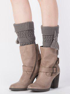 Tassel Flanging Knitted Boot Cuffs - Deep Gray