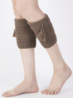 Tassel Flanging Knitted Boot Cuffs - Coffee