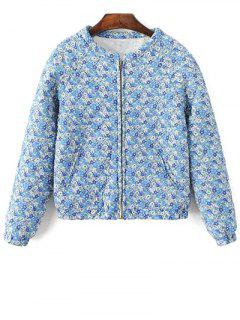 Small Floral Quilted Jacket - Blue S