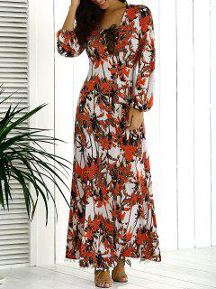 Lace Up Printed Long Dress With Sleeves - Multi L