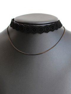 Hollowed Flower Choker Necklace - Black