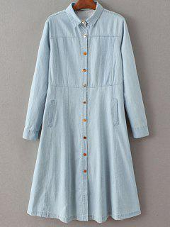 Denim A Line Shirt Dress - Light Blue S