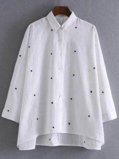 Star Embroidered Collared Shirt - White L