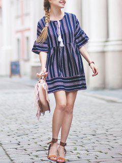 Stripe Mini Smock Dress - Blue M