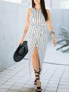 Draped Stripe High Low Maxi Dress - White And Black M