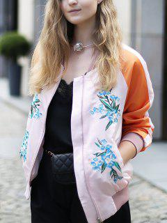 Floral Embroidery Baseball Jacket - Pink S