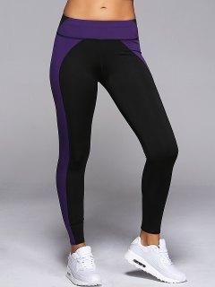 Elastic Waist Hit Color Sport Skinny Leggings - Purple S