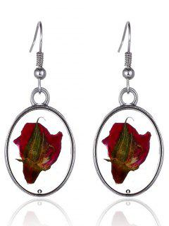 Dry Floral Glass Oval Drop Earrings - Silver
